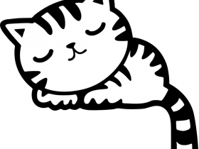 Download Black And White Clipart Pink Cat Kitten Kitty Png