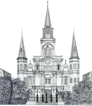 Download Building Church Watercolor Painting Sketch Steeple St Louis Cathedral In New Orleans Easy Png Free Png Images Toppng
