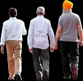 cropped three men walking - group people walking PNG images transparent