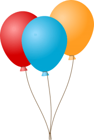 Three Flat Balloons PNG images transparent