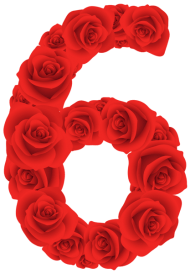 red roses six number PNG images transparent