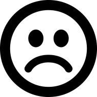black and white sad smiley face emoji PNG image with ...