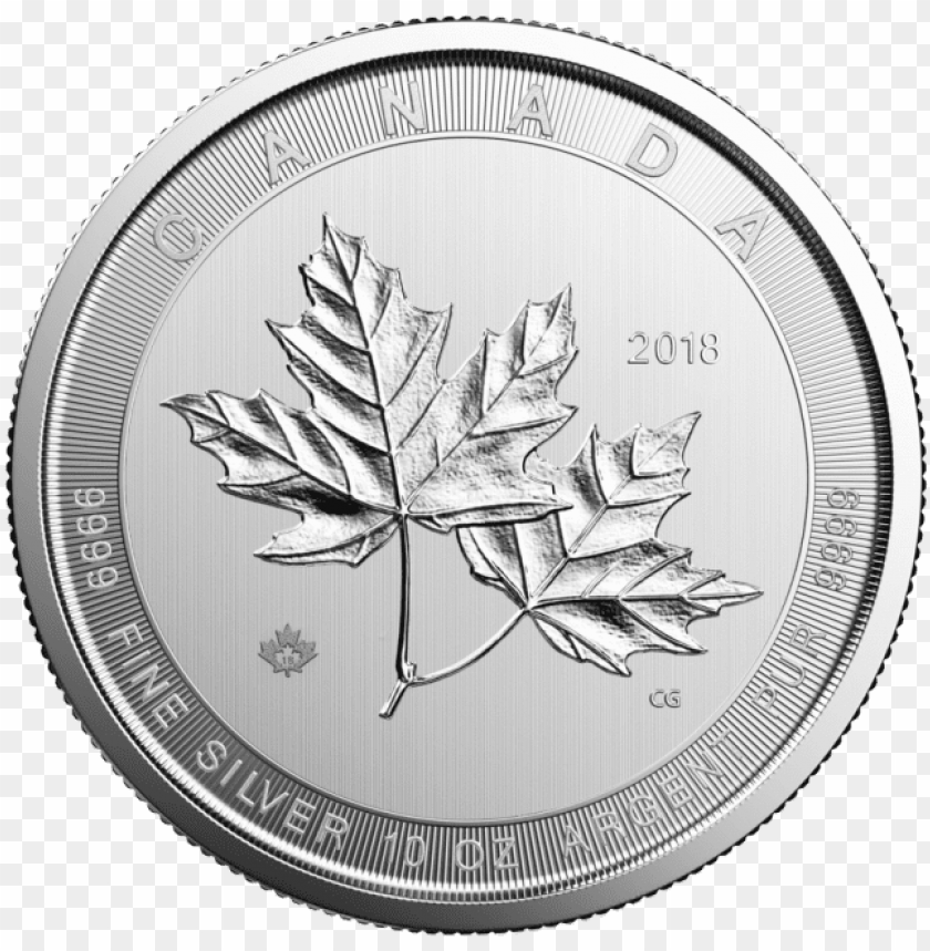 free PNG 10 oz silver magnificent maple leaf coin rcm - 10 oz silver maple leaf PNG image with transparent background PNG images transparent