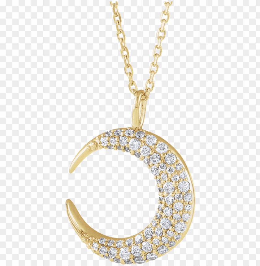 free PNG 14k yellow gold 1/3 ctw diamond moon necklace PNG image with transparent background PNG images transparent