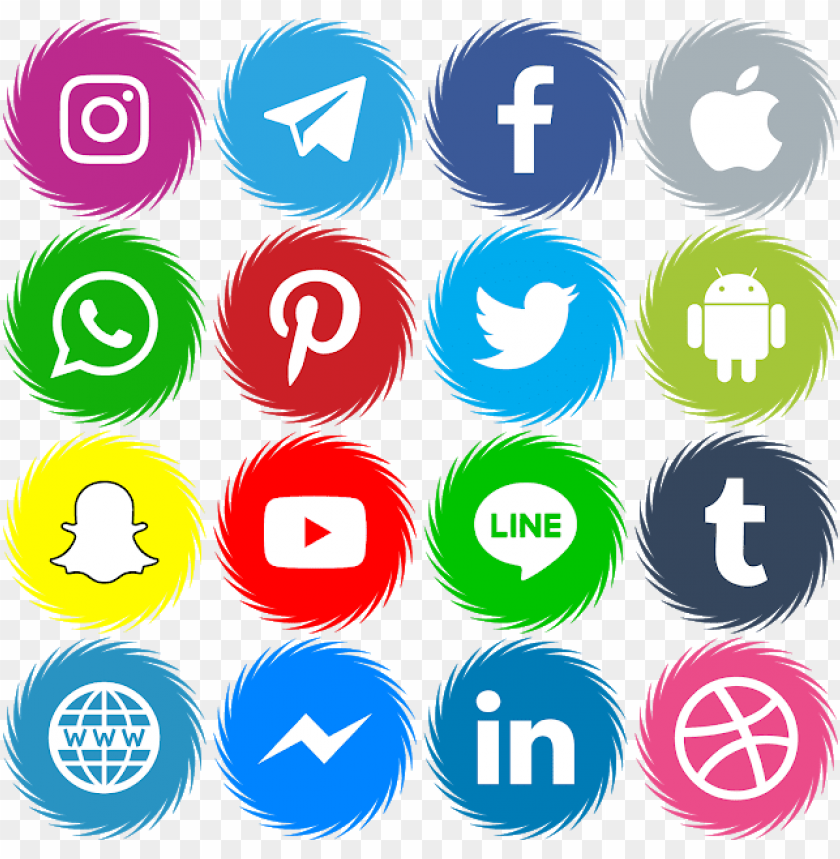 free PNG 16 icons social media vector color svg eps - facebook twitter instagram telegram icons png - Free PNG Images PNG images transparent