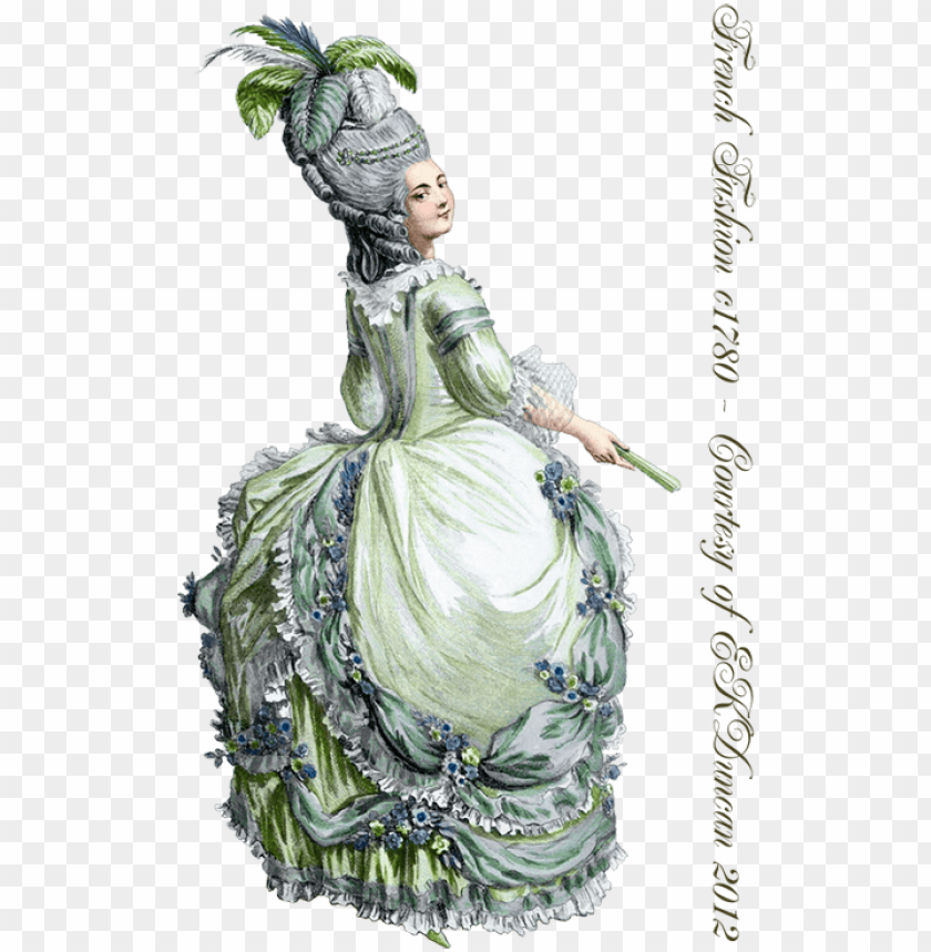 free PNG 1780 ladies fashion png in various color combinations - baroque woman fashion plate PNG image with transparent background PNG images transparent