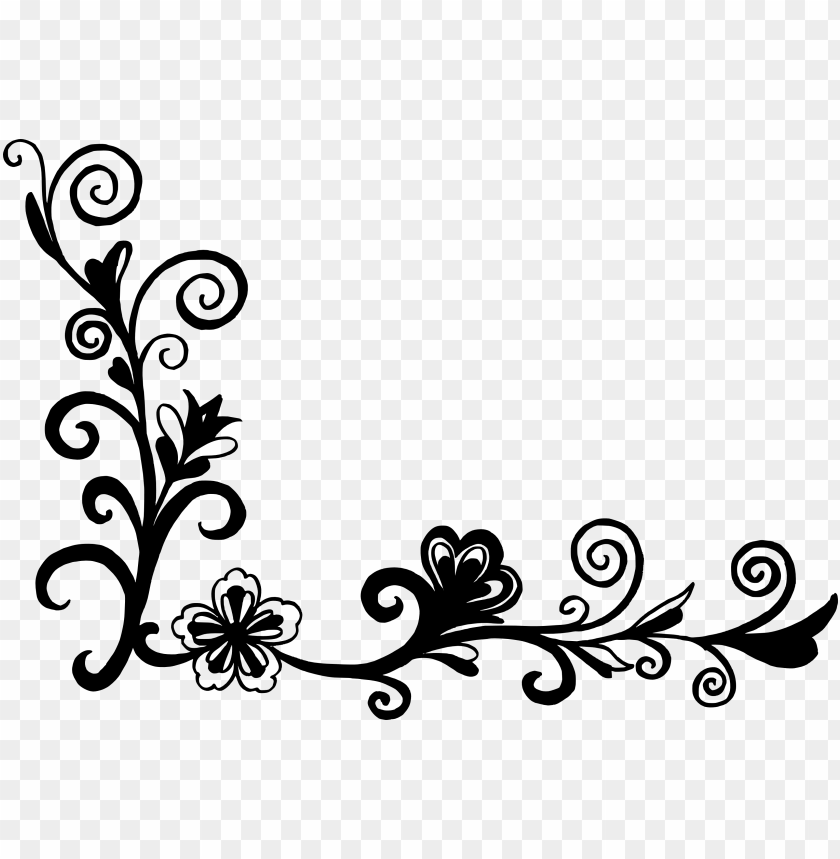 18 flower corner vector corner design clipart black and white png image with transparent background toppng 18 flower corner vector corner design