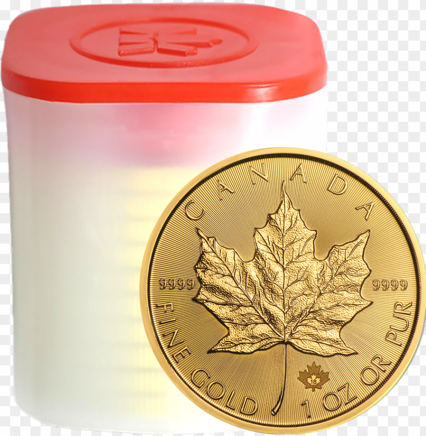 free PNG 2018 canadian maple 1oz gold coins in tube - gold maple leaf 2018 PNG image with transparent background PNG images transparent