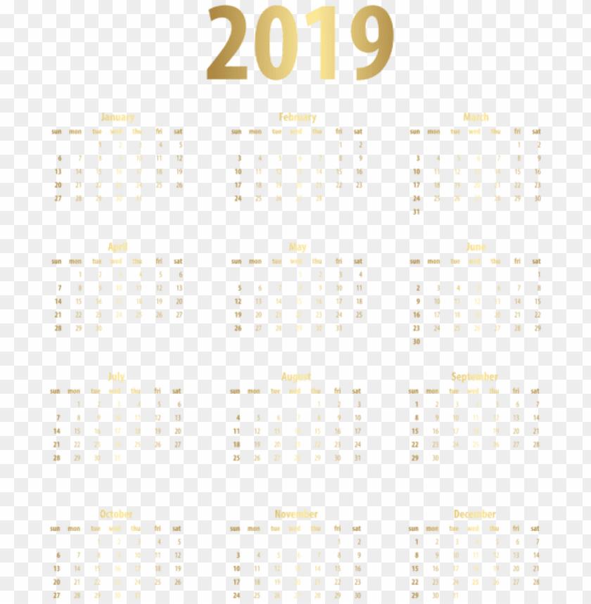 free PNG 2019 calendar gold PNG Images PNG images transparent