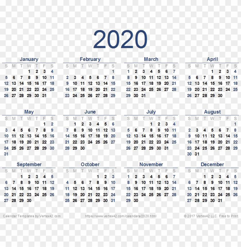 2020 Calendar Png Download Image Free Printable 2020 Calendar Png Image With Transparent Background Toppng