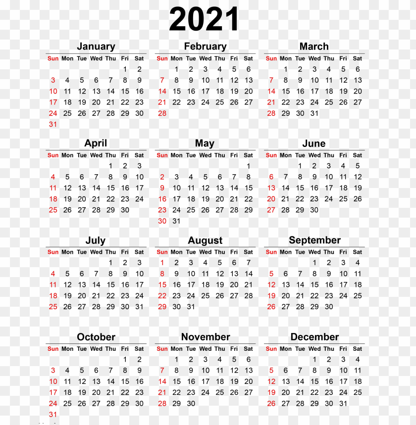 2021 Calendar Png 2021 calendar PNG image with transparent background | TOPpng