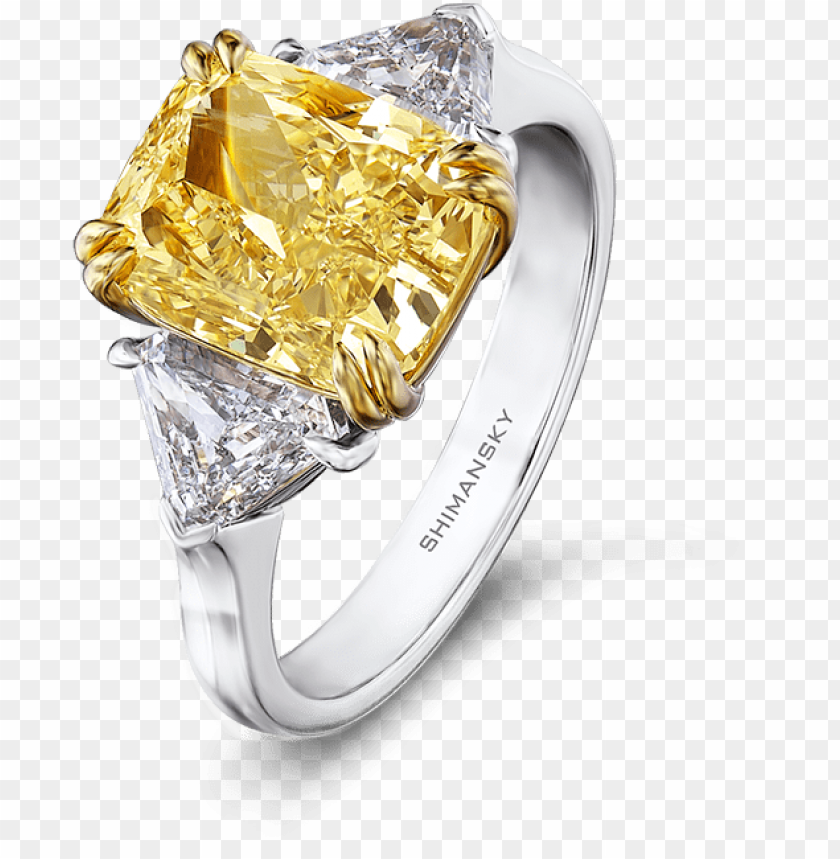 free PNG 25 fancy yellow diamond ring with trilliant cut - radiant cut fancy yellow diamond ri PNG image with transparent background PNG images transparent