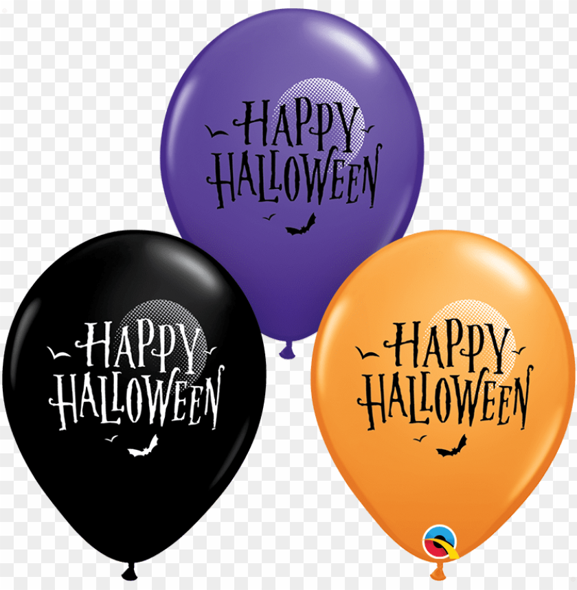 """free PNG 25 latex balloons 11"""" happy halloween moon & bats - birthday orange balloons PNG image with transparent background PNG images transparent"""