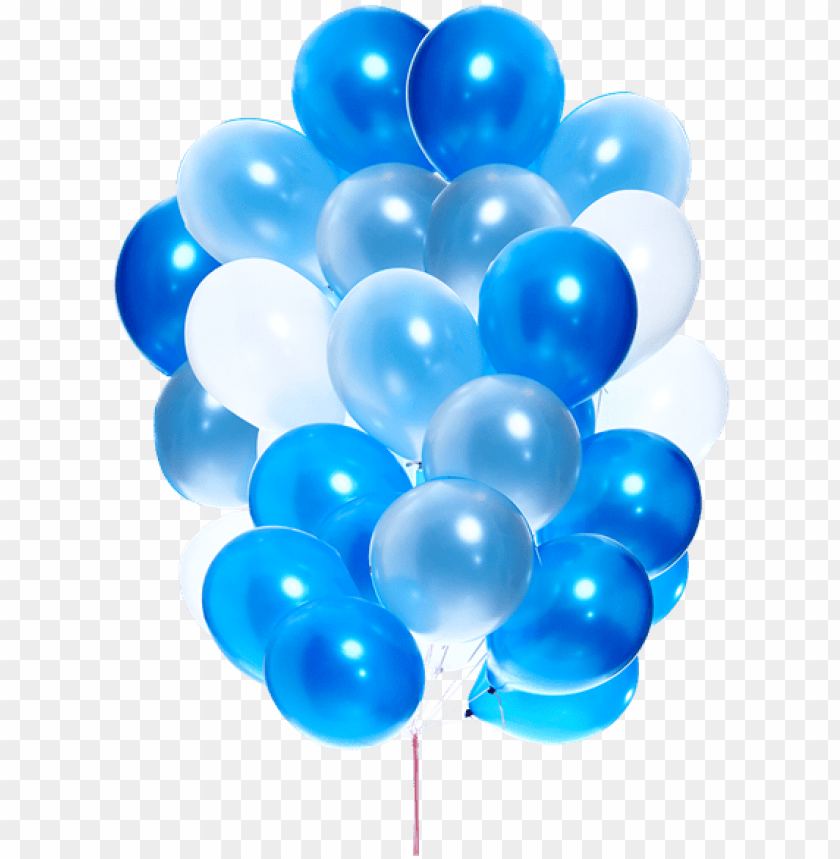 free PNG 25 pieces of mixed blue and white latex balloons bouquet - blue birthday balloons PNG image with transparent background PNG images transparent
