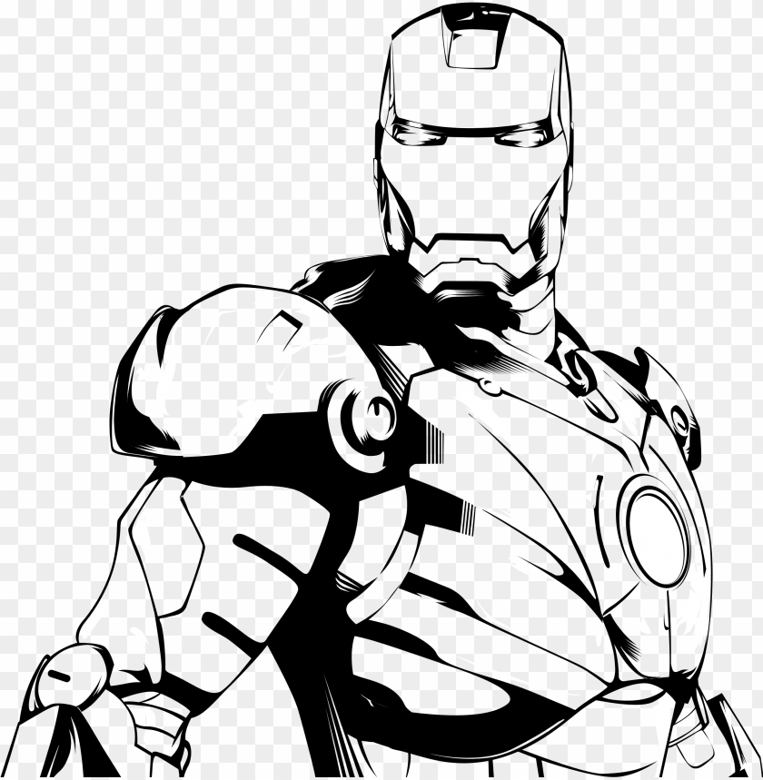free PNG 28 collection of ironman clipart black and white - iron man black and white PNG image with transparent background PNG images transparent