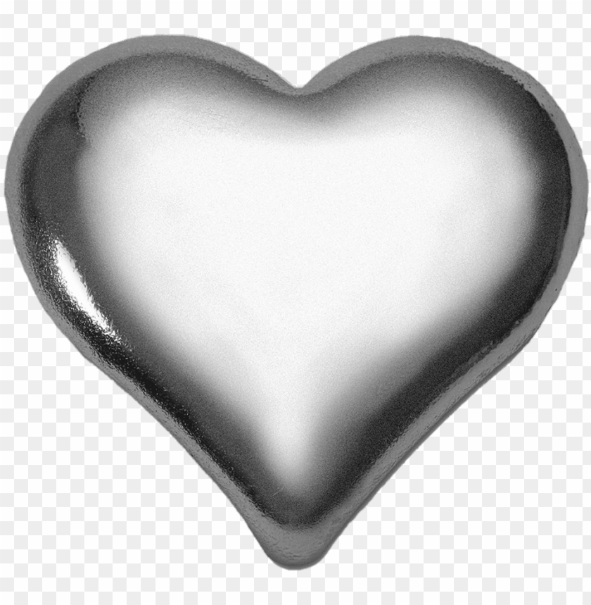 free PNG 3d heart silver metal metallic love - silver PNG image with transparent background PNG images transparent