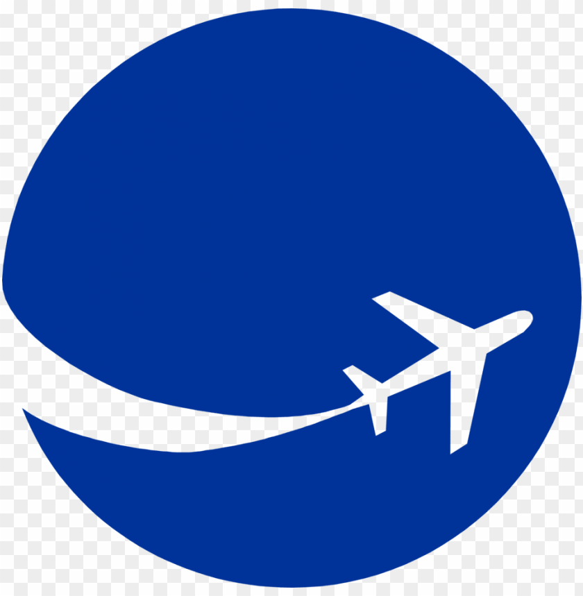 6461 illustration of an airplane silhouette on a blue - airplane in circle logo PNG image with transparent background@toppng.com
