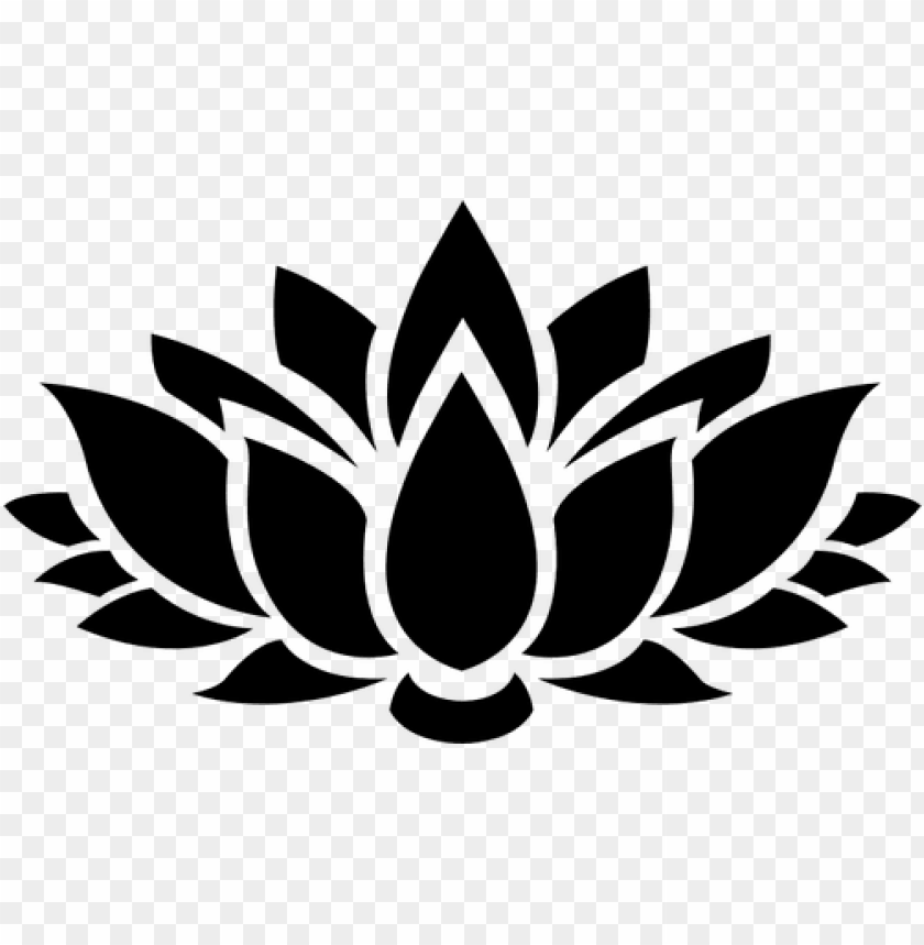 free PNG 8627 lotus flower outline clip art free - lotus flower silhouette PNG image with transparent background PNG images transparent