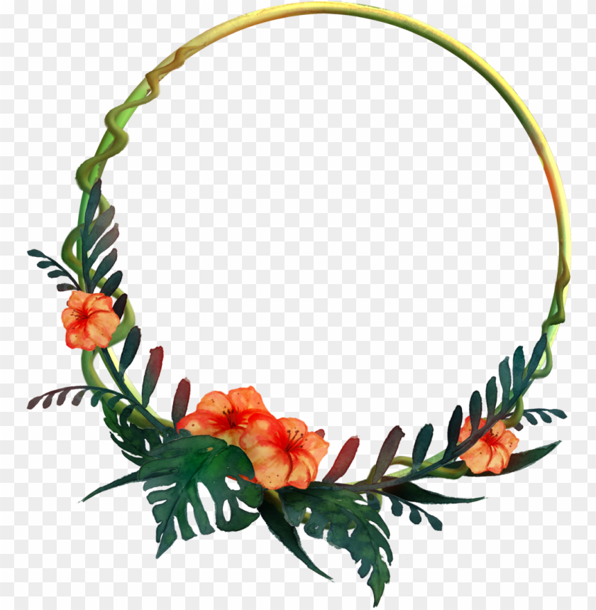 free PNG 932 round tropical frame 01 by tigers-stock - round flower frame PNG image with transparent background PNG images transparent