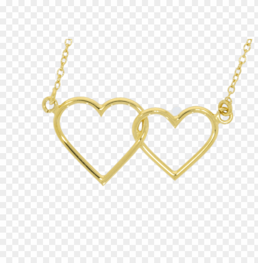 free PNG 9ct yellow gold double heart pendant & chain - necklace PNG image with transparent background PNG images transparent