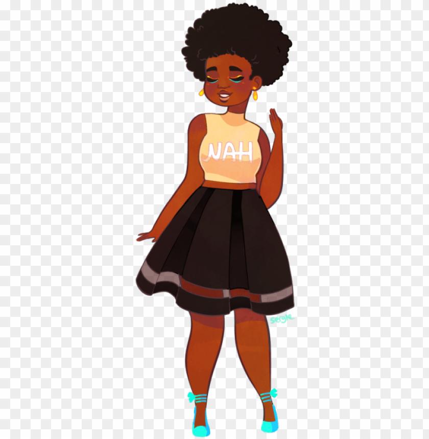 Hair afro girl black cartoon with 23 Animated