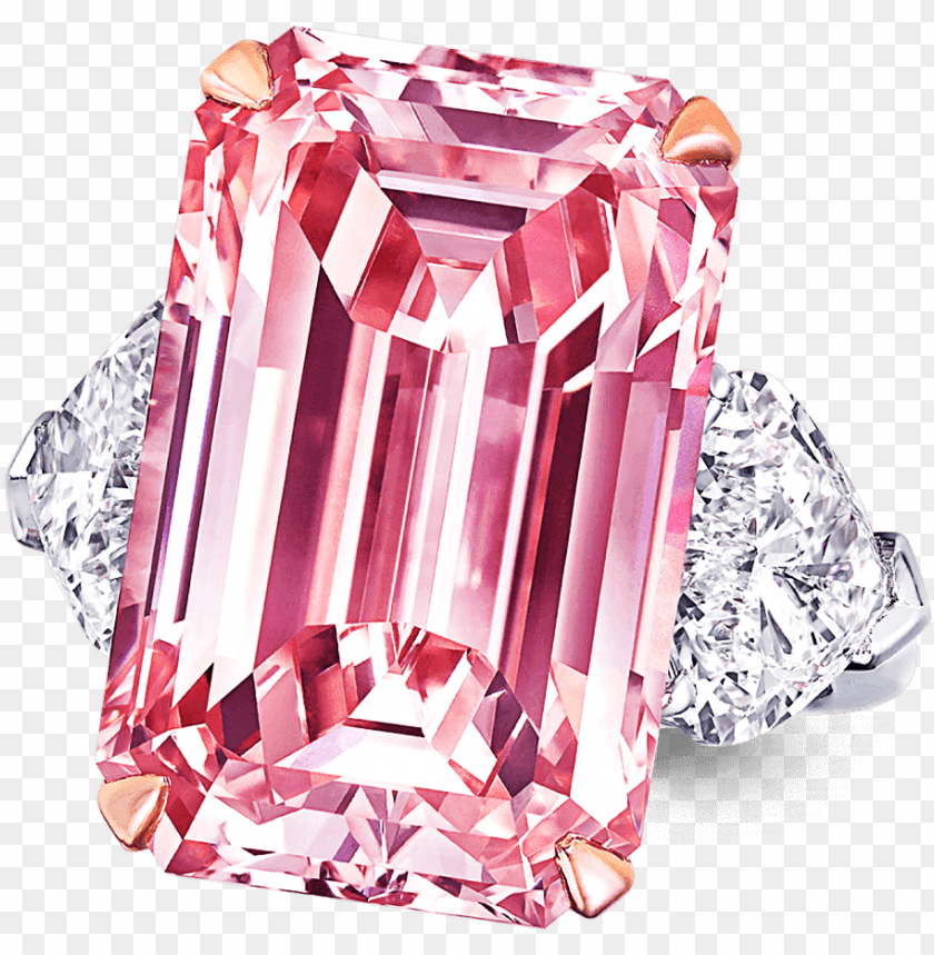 free PNG a graff emerald cut pink diamond ring with heart shape - pink diamond ri PNG image with transparent background PNG images transparent