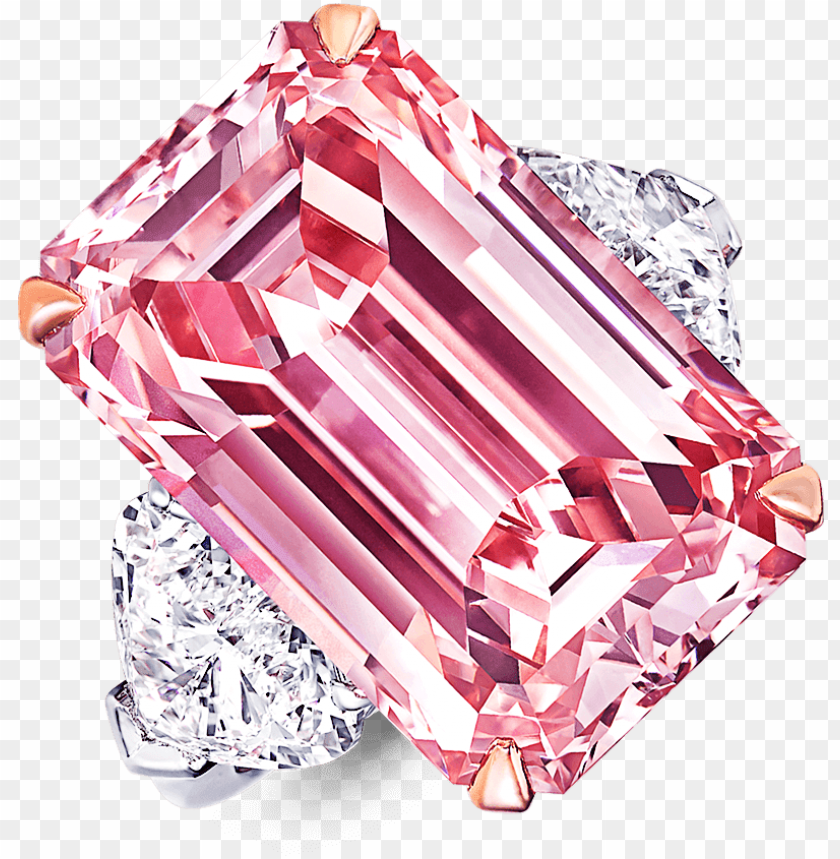 free PNG a graff emerald cut pink diamond ring with heart shape - pink emerald cut diamond ri PNG image with transparent background PNG images transparent