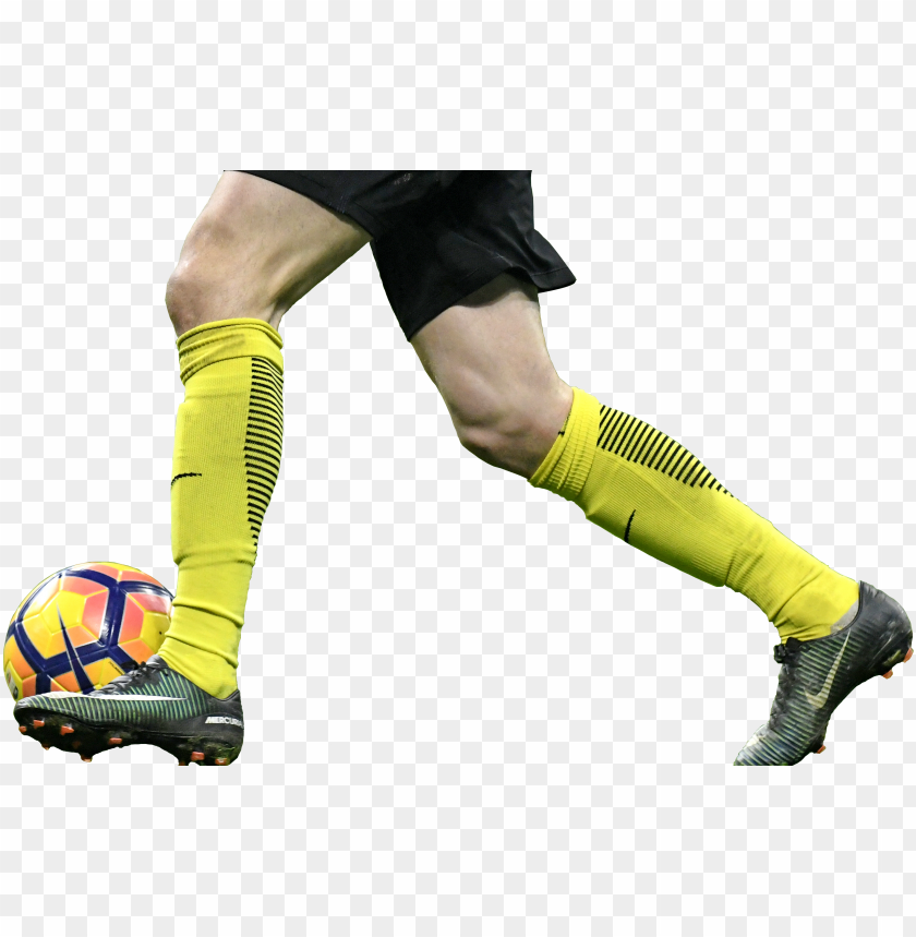 free PNG a player dribbling with the soccer ball at his feet - soccer player leg PNG image with transparent background PNG images transparent