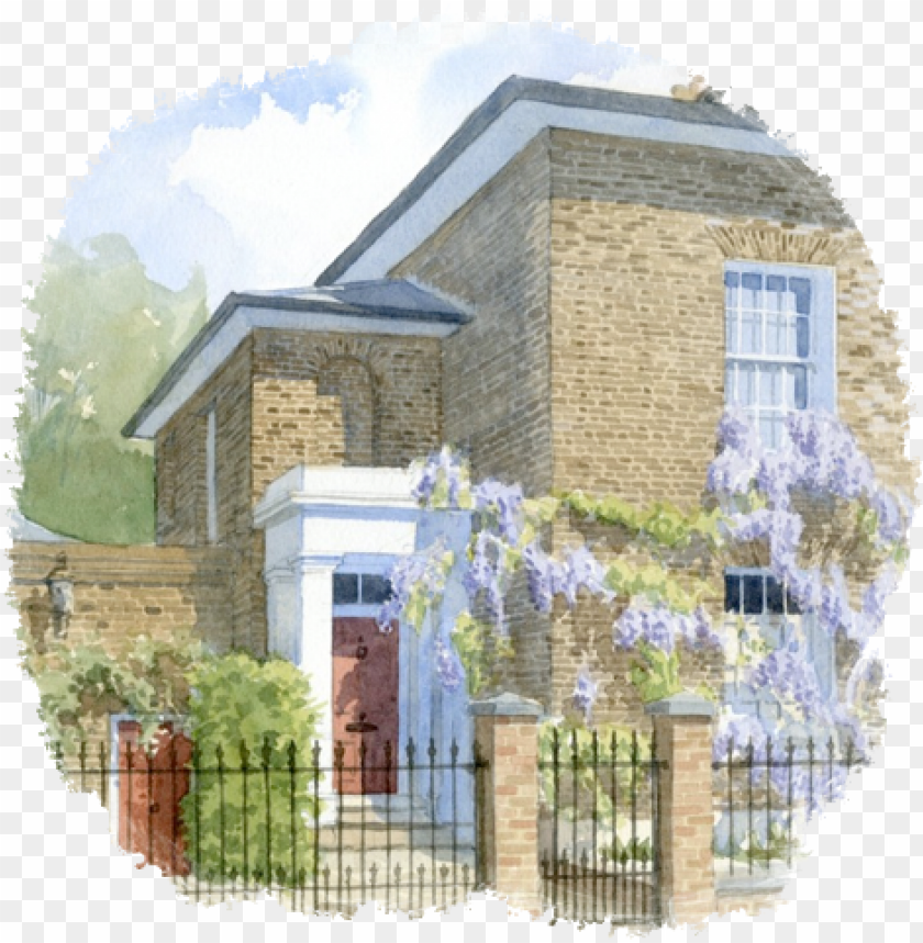 free PNG a watercolour house portrait can make a lovely gift - watercolour portrait of house PNG image with transparent background PNG images transparent