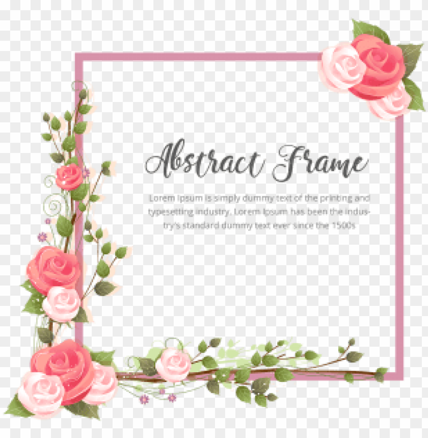 free PNG abstract rose flower with branches frame, abstract, - marco de flores PNG image with transparent background PNG images transparent