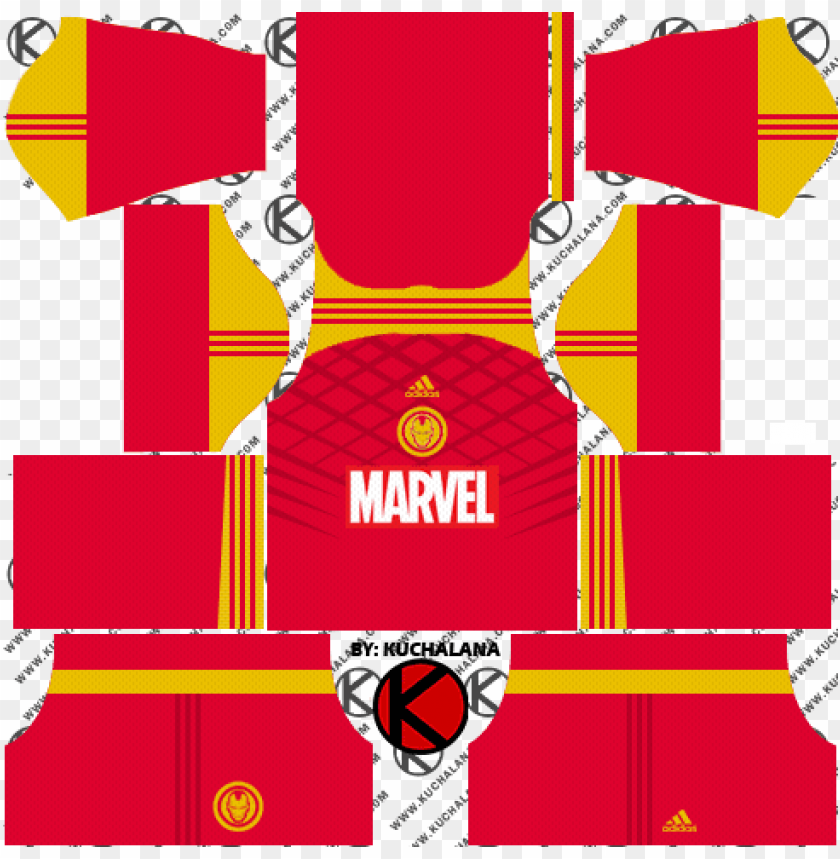 free PNG adidas marvel iron man, hulk, spider-man 2018 kits - dream league soccer kits marvel PNG image with transparent background PNG images transparent