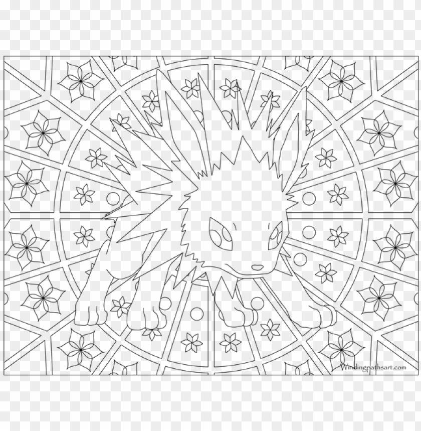 Adult Pokemon Coloring Page Jolteon Mandalas De Pokemon Para