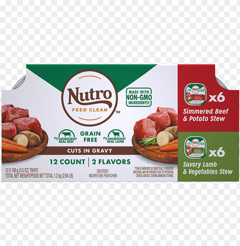free PNG adult wet dog food 12-count variety pack simmered beef - nutro wholesome essentials senior 30 lbs PNG image with transparent background PNG images transparent