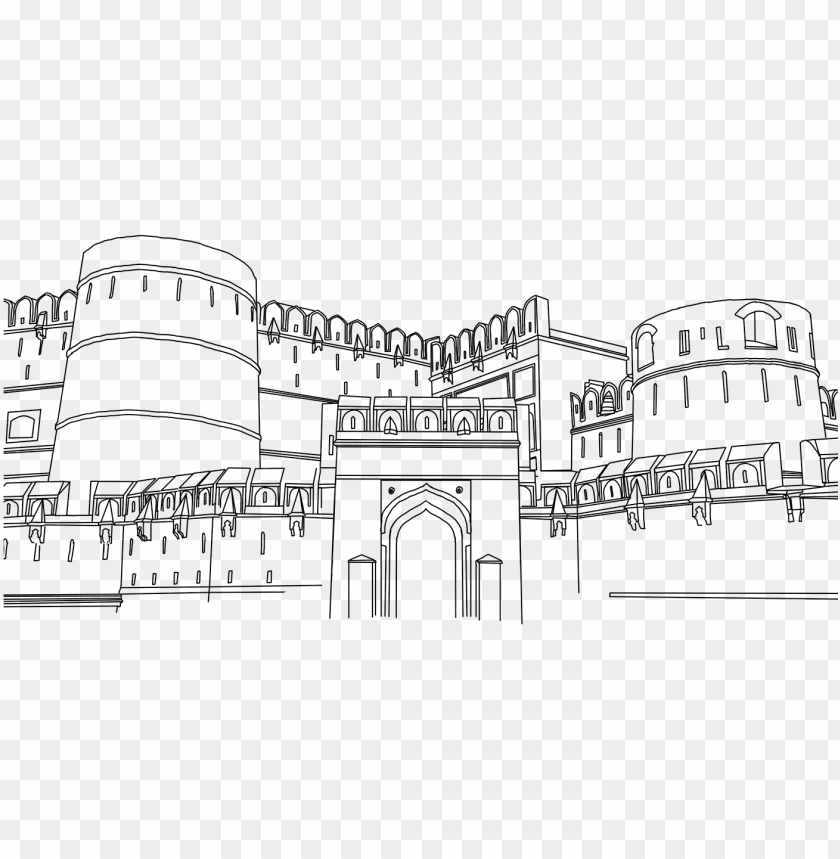 free PNG agra fort line drawing - red fort outline drawi PNG image with transparent background PNG images transparent