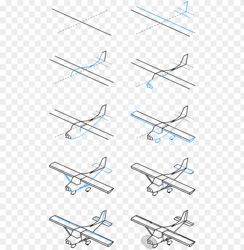 Airplane Drawing Paper Line Art Cartoon Plane Step By Ste Png