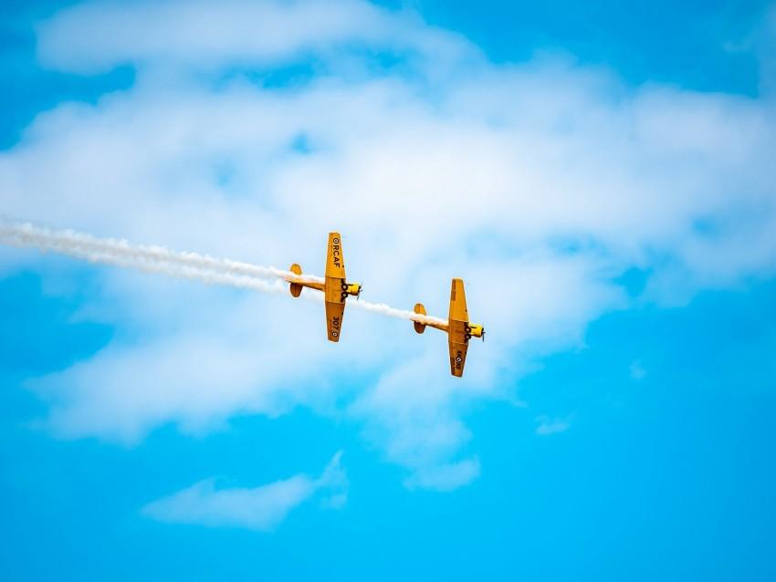 free PNG airplanes, airshow, trick, sky, smoke, aerobatics background PNG images transparent