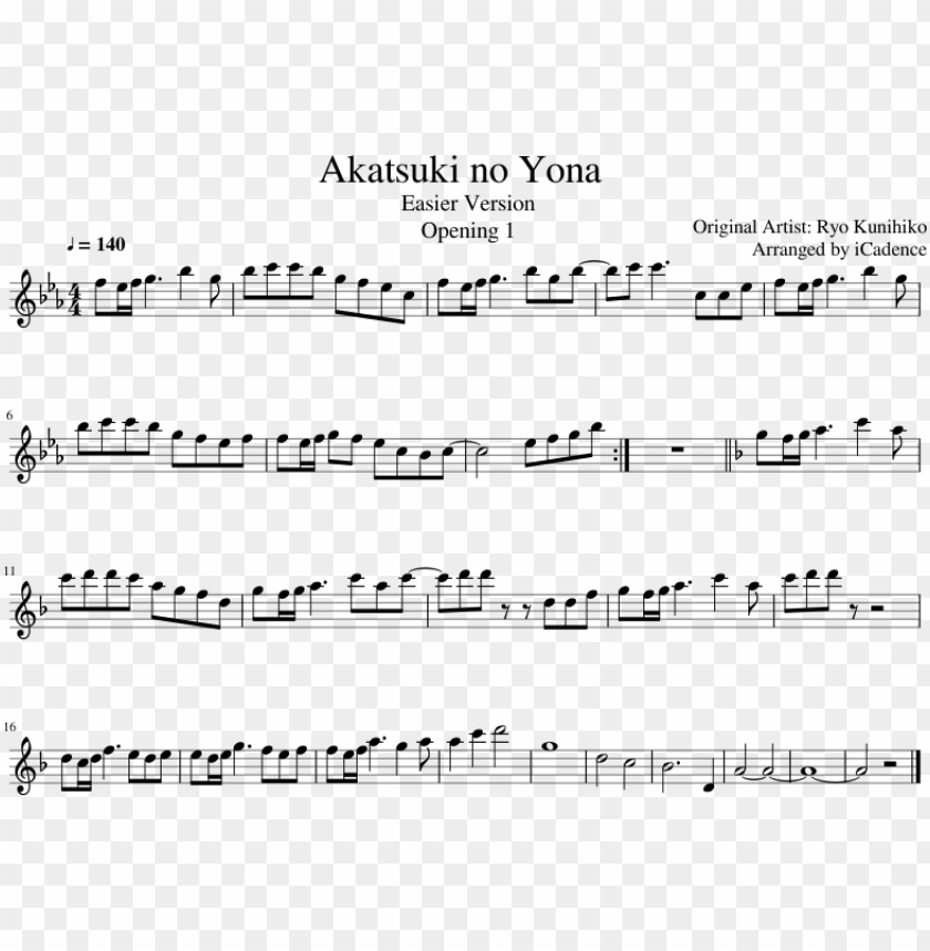 free PNG akatsuki no yona sheet music composed by original artist - akatsuki no yona piano sheet PNG image with transparent background PNG images transparent