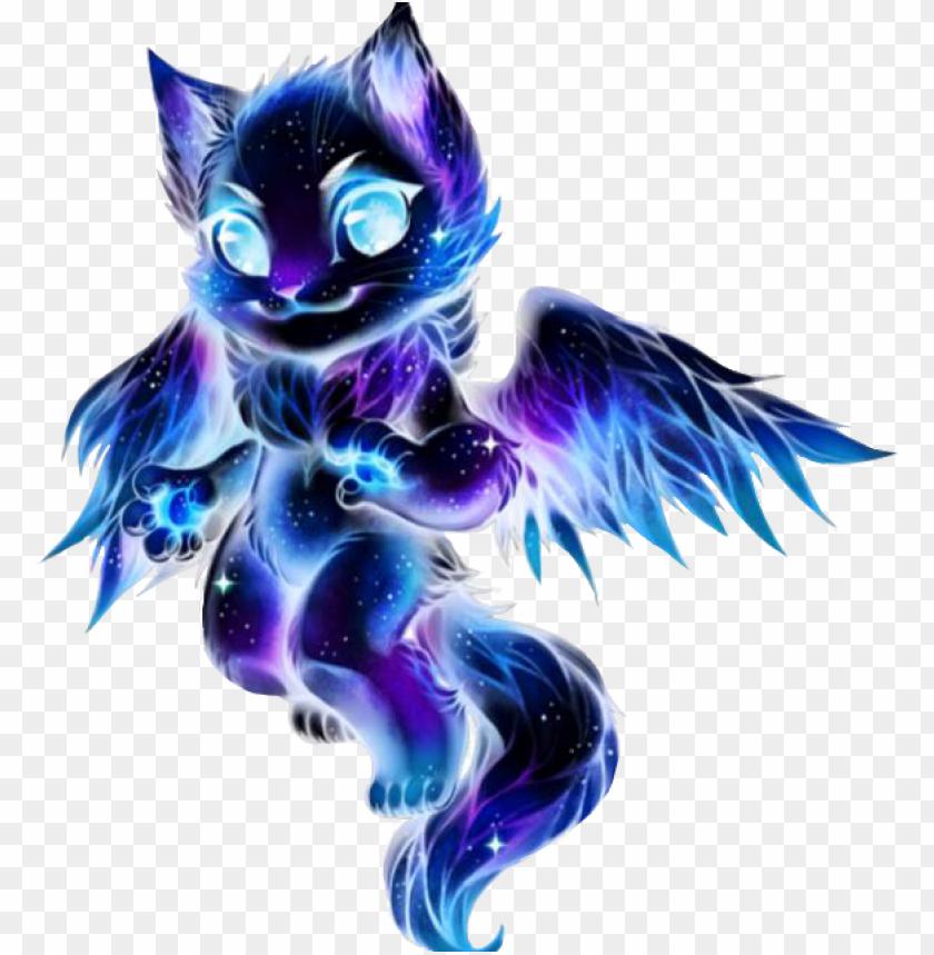 alaxy galaxycat galaxywolf flyingcat cat wolf purple galaxy cat with wings