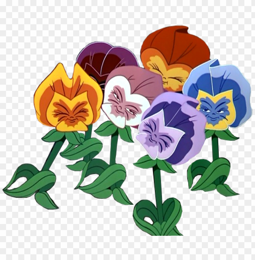 alice in wondereland flowers clip art - alice in wonderland talking flowers disney PNG image with transparent background@toppng.com