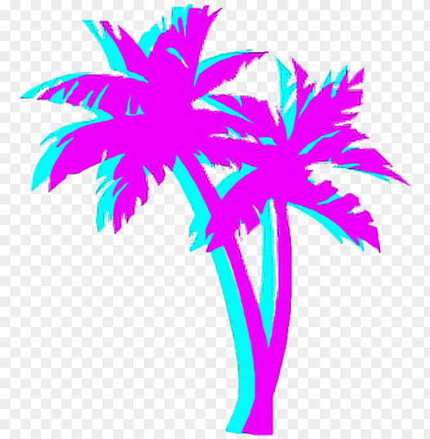 free PNG almtree palm night japan tumblr aesthetic - vaporwave palm tree PNG image with transparent background PNG images transparent