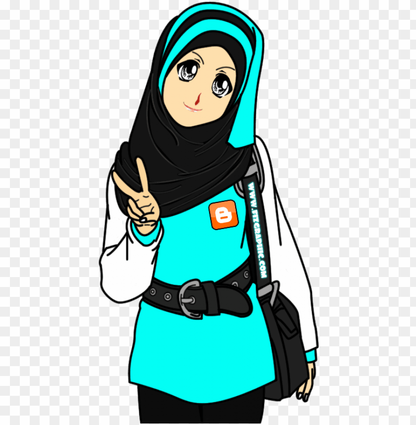 Ambar Kartun Muslimah Peace Png Image With Transparent Background Toppng
