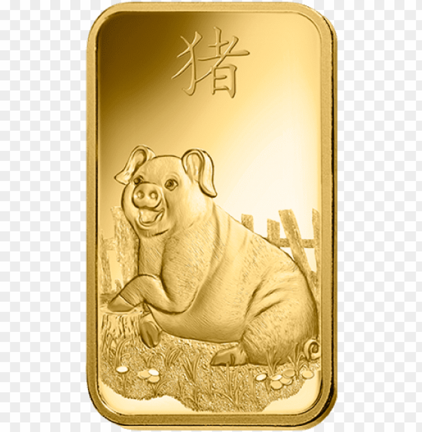 free PNG amp suisse 24k gold lunar pig collectible gold bar - pamp pig gold bar PNG image with transparent background PNG images transparent