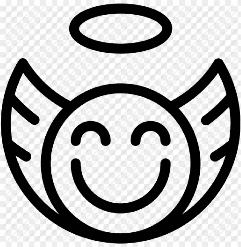 free PNG angel iconsmiley computer icons- angel emoji black and white PNG image with transparent background PNG images transparent