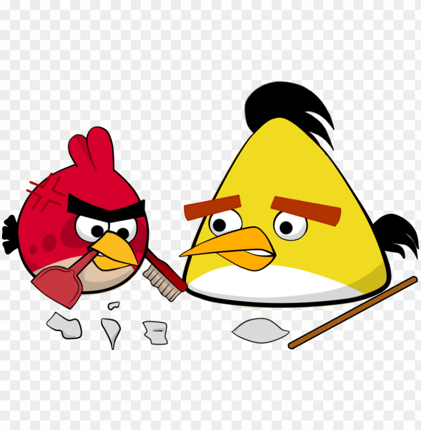 free PNG angry birds art red yellow - angry birds chuck and red PNG image with transparent background PNG images transparent