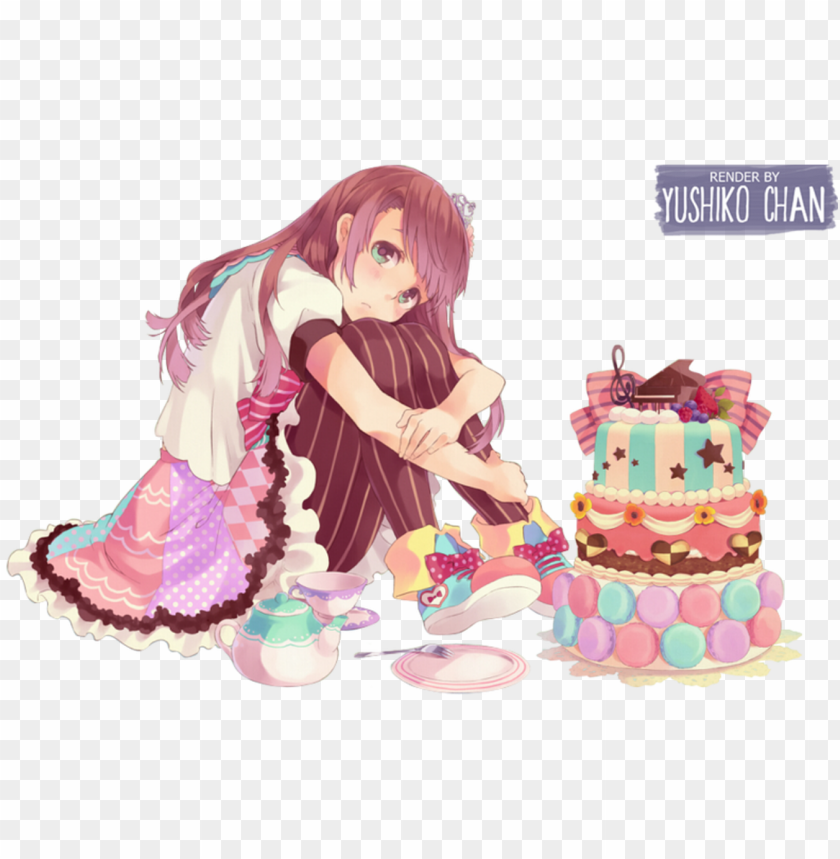 free PNG anime birthday girl 1 happy birthday world - anime girl food render PNG image with transparent background PNG images transparent