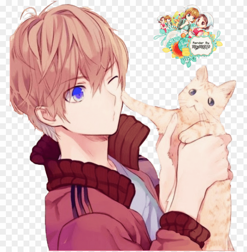 Anime Boy Cute Anime Boy With Cat Png Image With Transparent Background Toppng