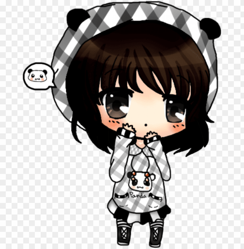 free PNG anime girl with panda hoodie download - panda girl chibi anime PNG image with transparent background PNG images transparent