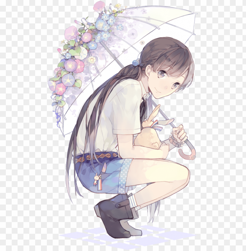 free PNG anime random anime girl 2 render png by orihimeyuuka-d7bszp6 - anime girl holding umbrella PNG image with transparent background PNG images transparent