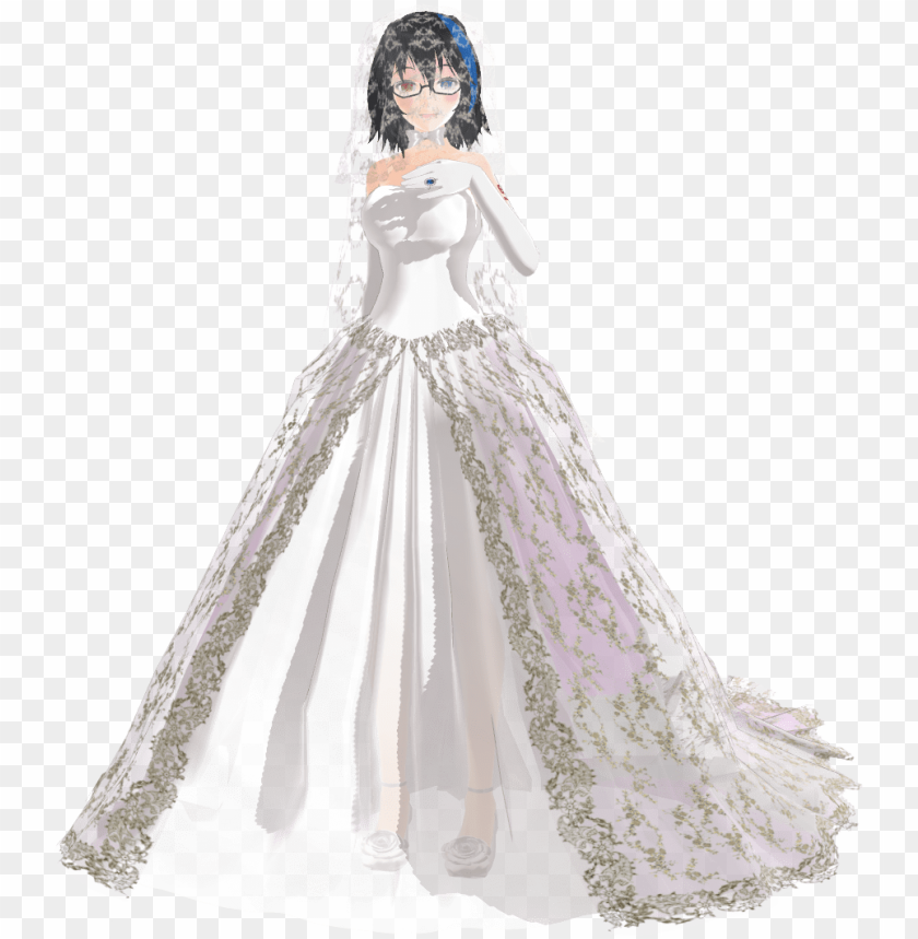 Anime Wedding Dresses Photo Mmd Long Dress Dl Png Image With