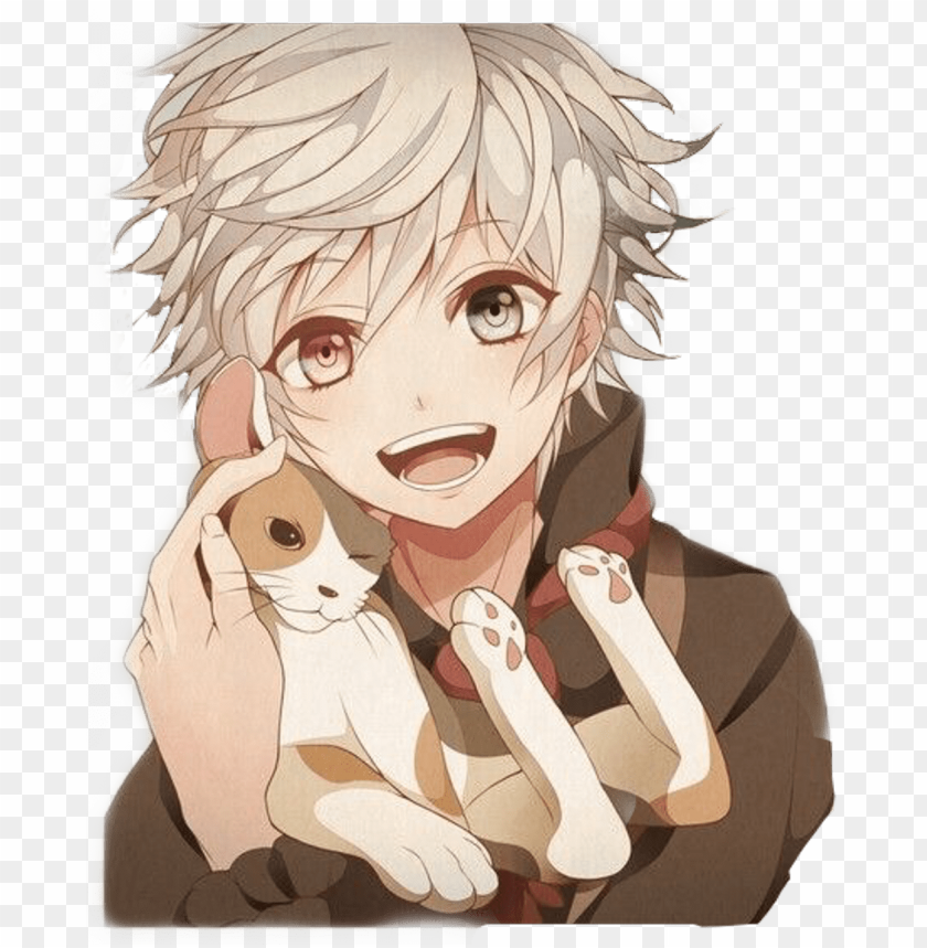 free PNG #animeboy #boyanime #cat #catboy #withcat #kitty #cats - anime boy and cat PNG image with transparent background PNG images transparent